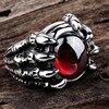 Bague Dragon griffe  pierre rouge  2