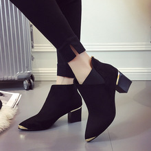 Fashion Sexy Women Boots Short Boots Martin Boots Ankle 2018 Autumn New Pointed  Metal Elegant Casual Shoes Woman Non-slip 2019 autumn new fashion children single boots male girl shoe soild student non slip short boots child martin boots