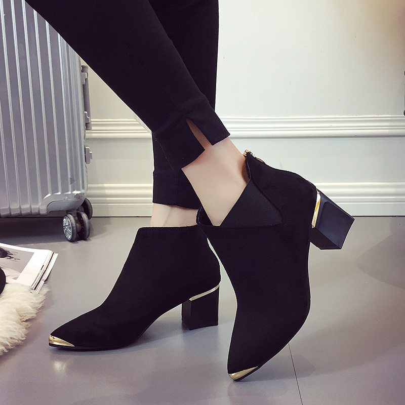 Fashion <font><b>Sexy</b></font> Women Boots Short Boots Martin Boots Ankle <font><b>2018</b></font> Autumn New Pointed Metal Elegant Casual <font><b>Shoes</b></font> Woman Non-slip image