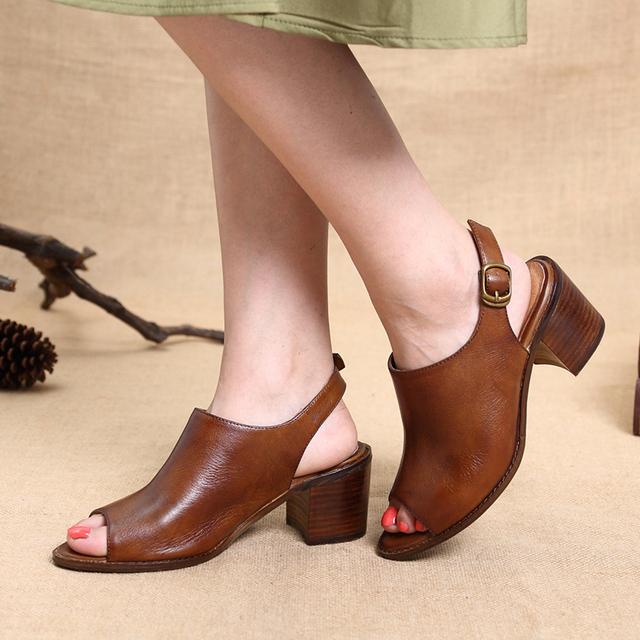 2017 Women Shoes Sandals Peep Toe Genuine Leather Buckle Chunky Heels Women Summer Shoes