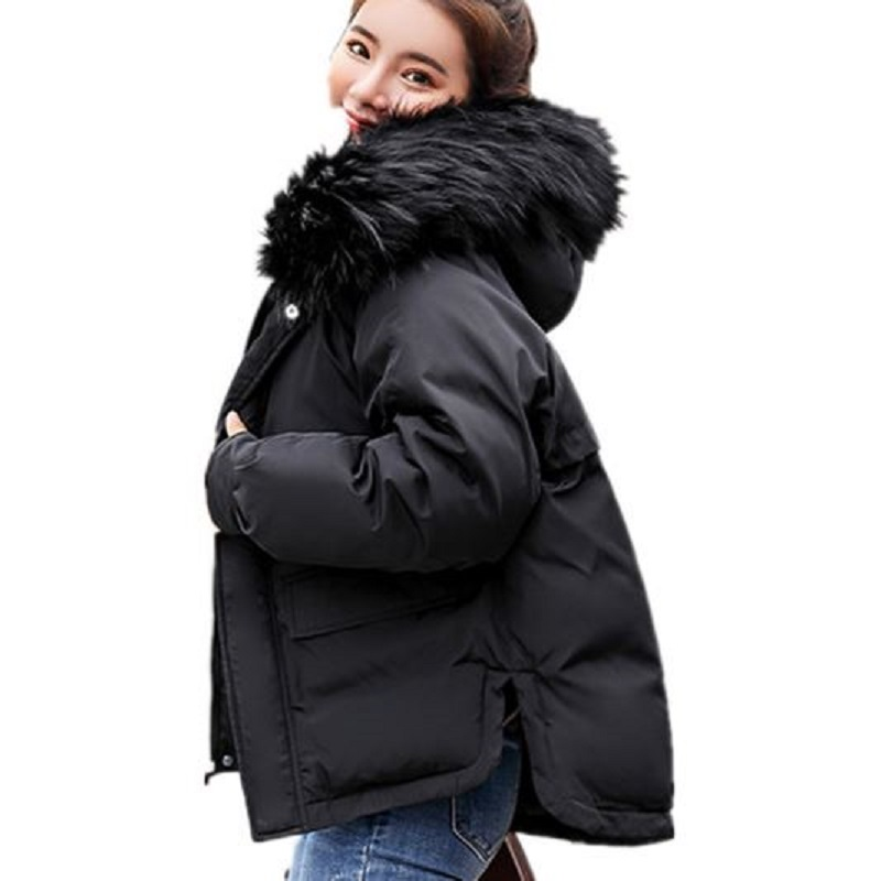 2018 cotton padded women 39 s jacket casual winter jacket women short parka fur collar coat bread coat thickened cotton padded coat in Parkas from Women 39 s Clothing