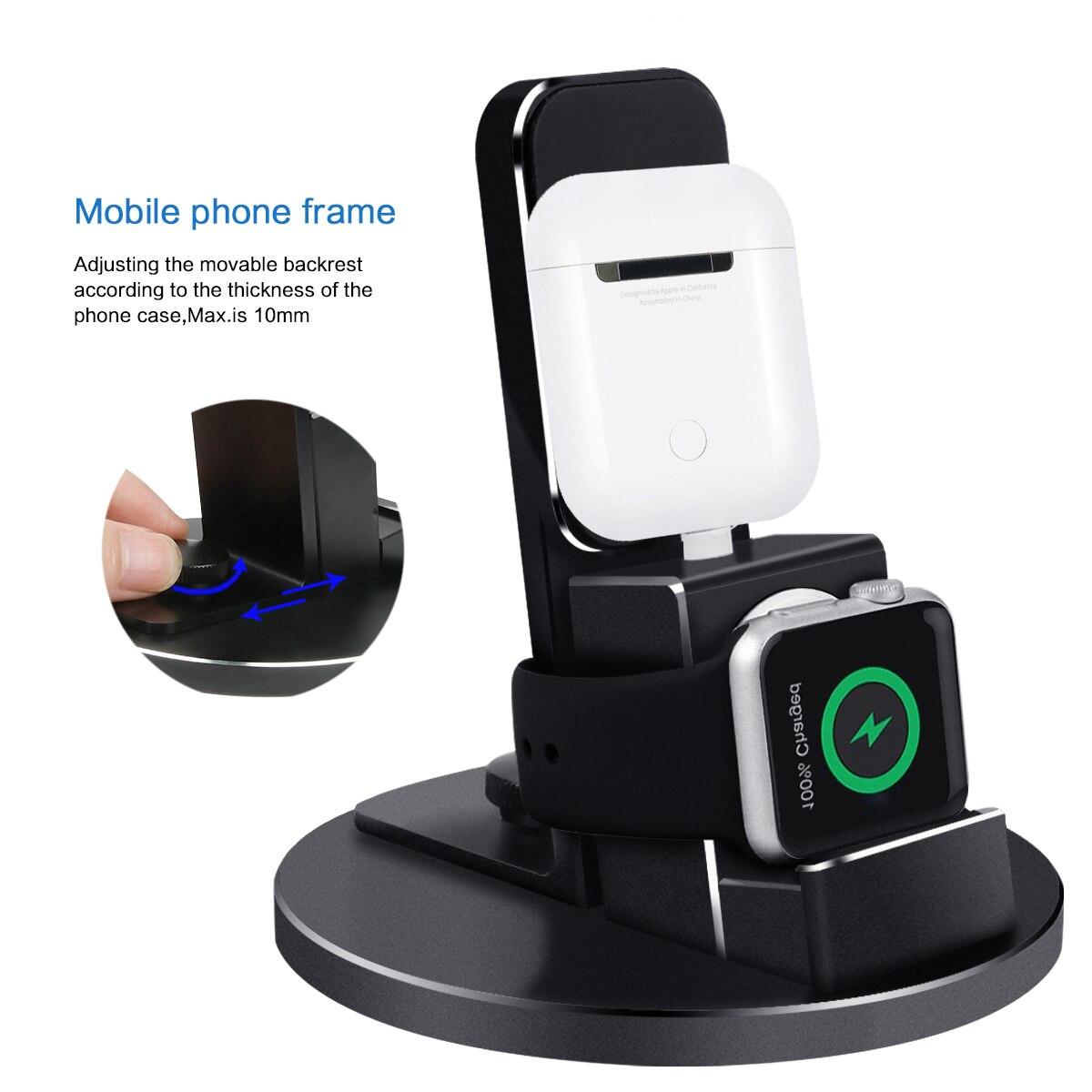 3 в 1 Беспроводное зарядное устройство для Apple iPhone11 11Pro/iWatch/AirPods/iPod настольное зарядное устройство Металлический Держатель зарядного устройс