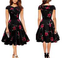 Audrey Hepburn Style Dress Ladies Short Sleeve Slim Summer Printed Dresses Princess Vintage Mid Length Party