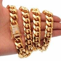 Qmzchentrendy 15mm Hombres de acero Inoxidable Collar de Cadena Cubana de Miami CZ Broche Bling Iced Out Hip Hop Cadena De Fundición de Oro collar