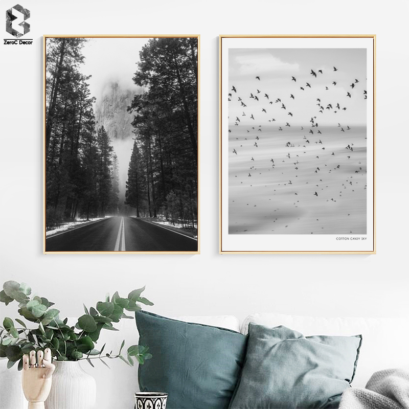 Black & White Art Posters And Prints Landscape Wall Art Canvas Painting Wall Pictures For Modern Living Room Nordic Home Decor