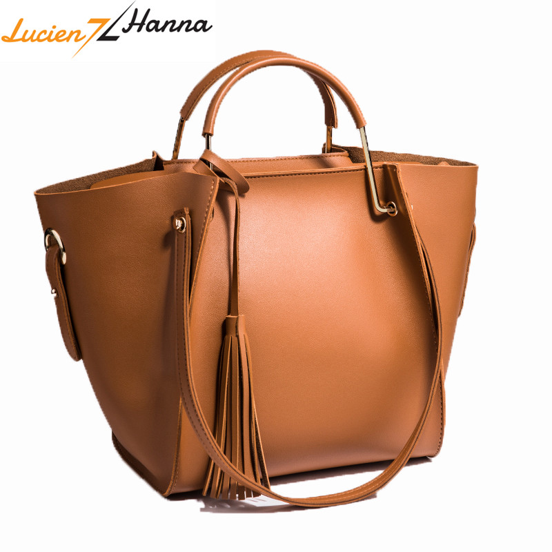 21783ebf76 2Pcs Women Composite Bags Set Bag PU Leather Top-Handle High Quality Tassel  Messenger Handbag