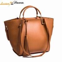 2Pcs Women Composite Bags Set Bag PU Leather Top Handle High Quality Tassel Messenger Handbag Crossbody