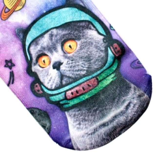 Space Cat Printed Socks for Women