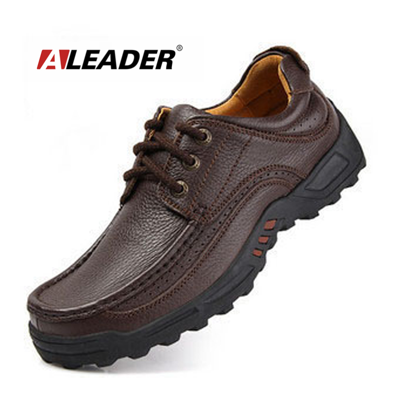 aleader 2016 outdoor casual shoes mens genuine leather