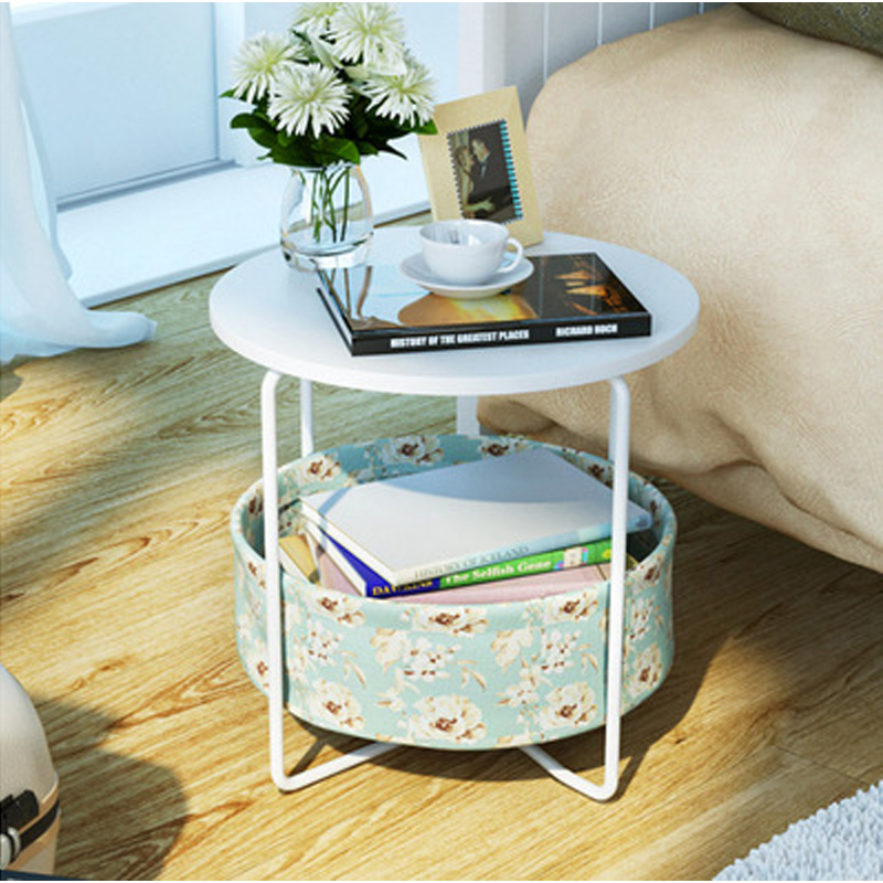 rural style  end table side table  with storage basket office coffee table Magazine table living room home furniture 2layers