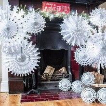 Copos de nieve de papel de seda recortados, abanico de copos de nieve blancos, duchas de cumpleaños, bodas, fiestas temáticas de invierno, Ideas artesanales y colección