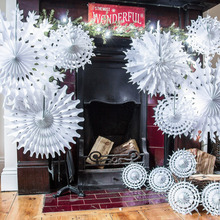 Cut out Tissue Paper Snowflakes White Snowflake Fan Birthday Showers Weddings Winter Themed Parties Craft Ideas&Collection