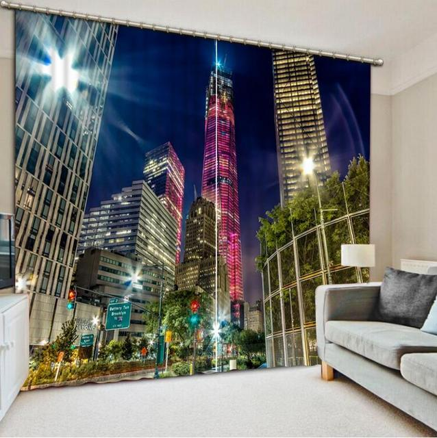 US $61.2 49% OFF Custom Modern Curtains Living room Curtain 3D beautiful  city night view Blackout 3D Curtains Bedroom Drapes Decoration-in Curtains  ...