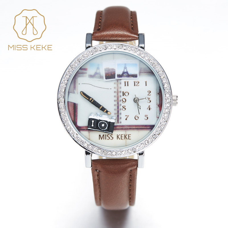 Miss Keke 3d Clay Leuke Camera Notebook Pen Golden Retriever Strass Horloges Dames Quartz Lederen Horloges 1058