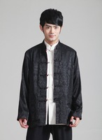 Free Shipping 2014 Long Sleeve Tang Suit Chinese Traditional Red Black Two Sided Wear Mandarin Collar