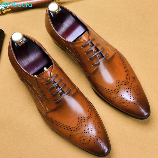 QYFCIOUFU 2019 Handmade Vintage Retro Mens Oxford Shoes 100% Genuine Leather Pointed Toe Carving Formal Dress Wedding Suit Shoes