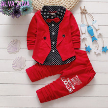 gentleman 2017 spring baby boys casual dot shirt+pants Suits Infant fake 2pc/sets bebe clothing set Clt086