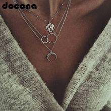 Boho Silver World Map Moon Round Pendant Necklace for Women Long Charms Multilayer Necklaces Party Jewelry Collars(China)
