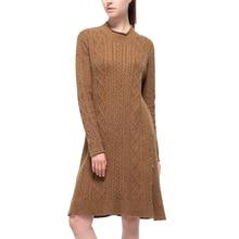 2017 autumn dress casual womens clothing long sleeve sweater dress slim brown women dress