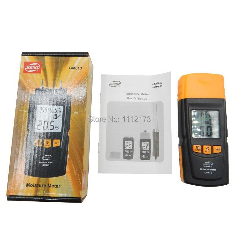 GM610 Digital LCD Display Inductive Wood Moisture Meter Humidity Tester Timber Damp Detector Hygrometer GM610 Range 0~70% 2Pins  цены