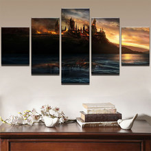 Canvas Paintings Living Room HD Prints Home Decorative 5 Pieces Harry Potter Frame Castle HD Posters Wall Art Pictures Framework(China)