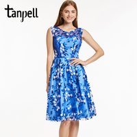 Tanpell Short Homecoming Dress Royal Blue Scoop Sleeveless Knee Length A Line Gown Lady Embroidery Party