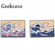 The Great Wave off Kanagawa Zinc Alloy pins backpack pride clothes medal for bag hat insignia badges brooch men women J0103