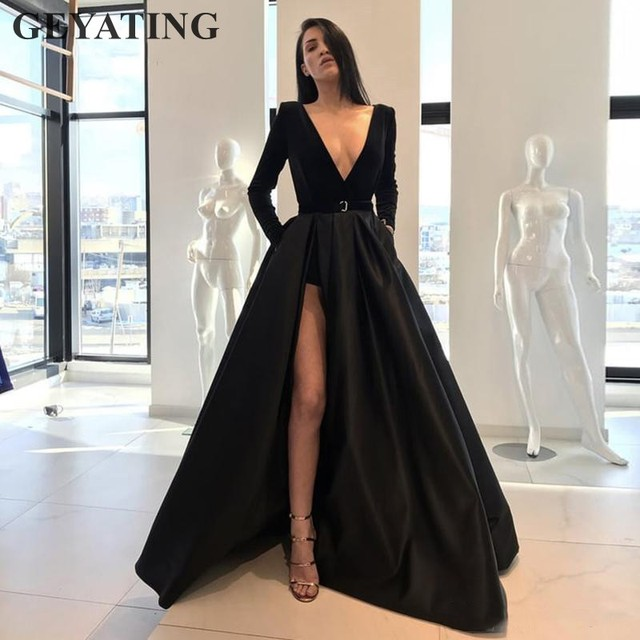 573b06ad8364 Sexy Deep V-Neck High Slit Black Prom Dresses Long Sleeves 2019 Elegant  Long Satin Evening Party Gown Women Formal Pageant Dress