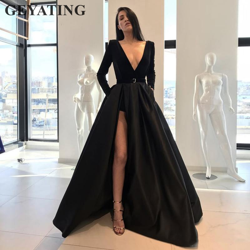 Sexy Deep V-Neck High Slit Black   Prom     Dresses   Long Sleeves 2019 Elegant Long Satin Evening Party Gown Women Formal Pageant   Dress