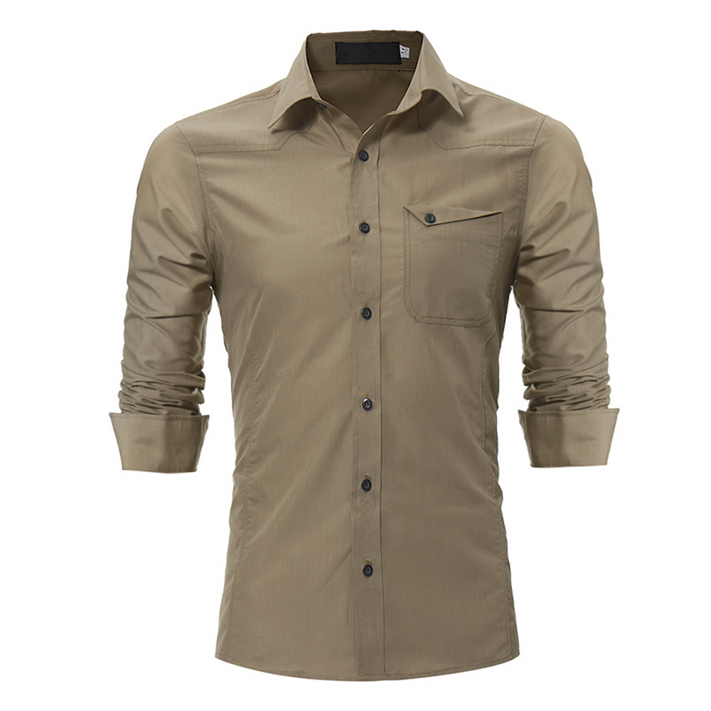 New Men Casual Work Shirt Fashion Brand Solid Color Classic Long Sleeve Mens Dress Shirts Male Business Camisa Social