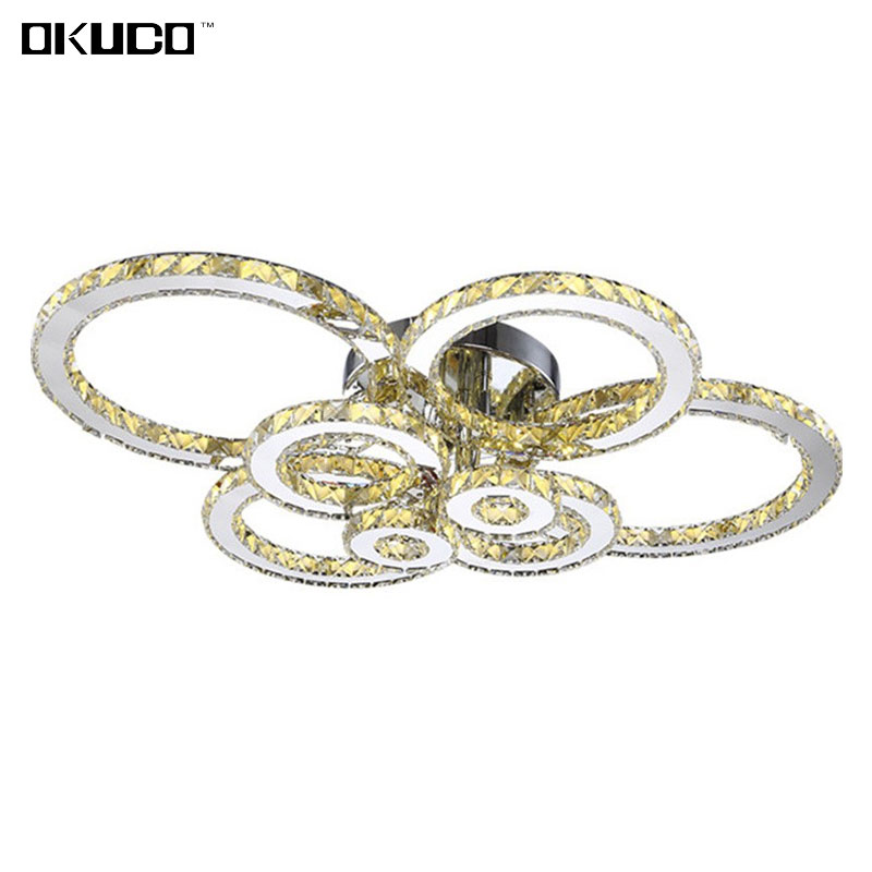 Surface Mounted Modern LED Crystal Ceiling Lights For Living Room Bedroom Luxury 8 Rings For Decorate