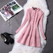 Sonbahar Kış Moda Hanım Elbise Uzun Kollu Süet 2016 Yeni Bahar Zarif Casual Bodycon Balo Parti Elbise Slim Vestidos