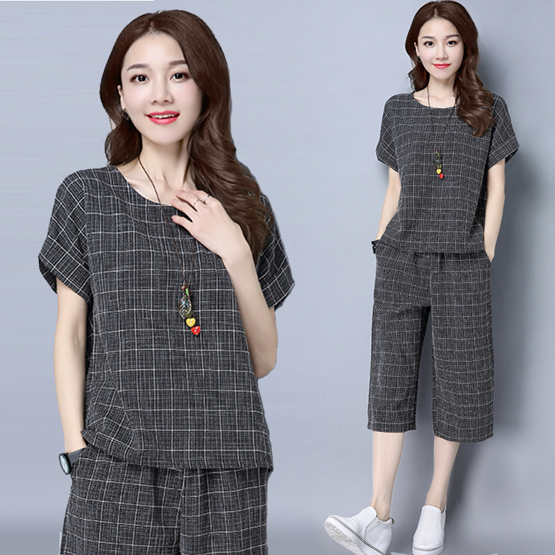 New Cotton and linen Lady suit Fashionable female clothing lattice woman 2 pieces sets outfits Large size clothing for women 958