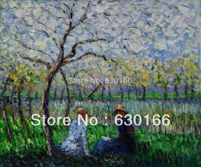 Indirim Bahar Tarafindan Claude Monet Antika Manzara Boyama Tuval