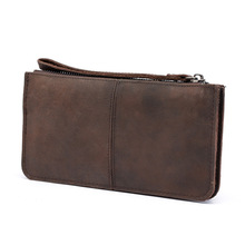 Unisex New Retro Crazy Horseskin Long Wallet First-Level Leather Clutch Bags Multi Business