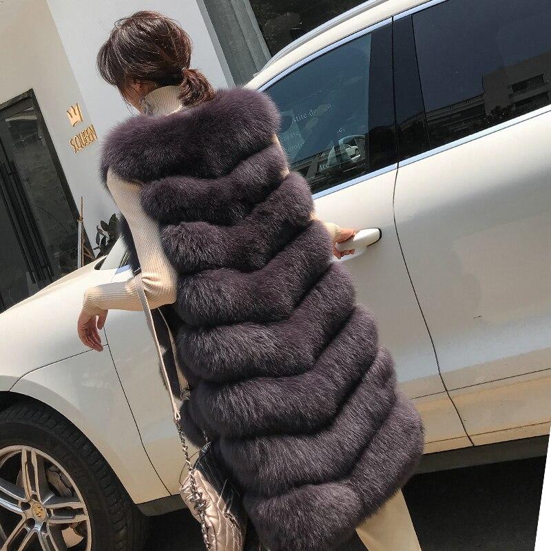 Chaud Vintage chocolate Femmes Femme pink black Longue D'hiver Dark Complet Veste Hiver Pelt De Manteau Rea 2018 Gray ivory Zl605 Vêtements Renard Fourrure Gilet Manteaux BrBOazqn