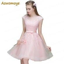 Aswomoye/короткое вечернее платье трапециевидной формы Новое Стильное свадебное платье с круглым вырезом без рукавов с бантом robe de soiree