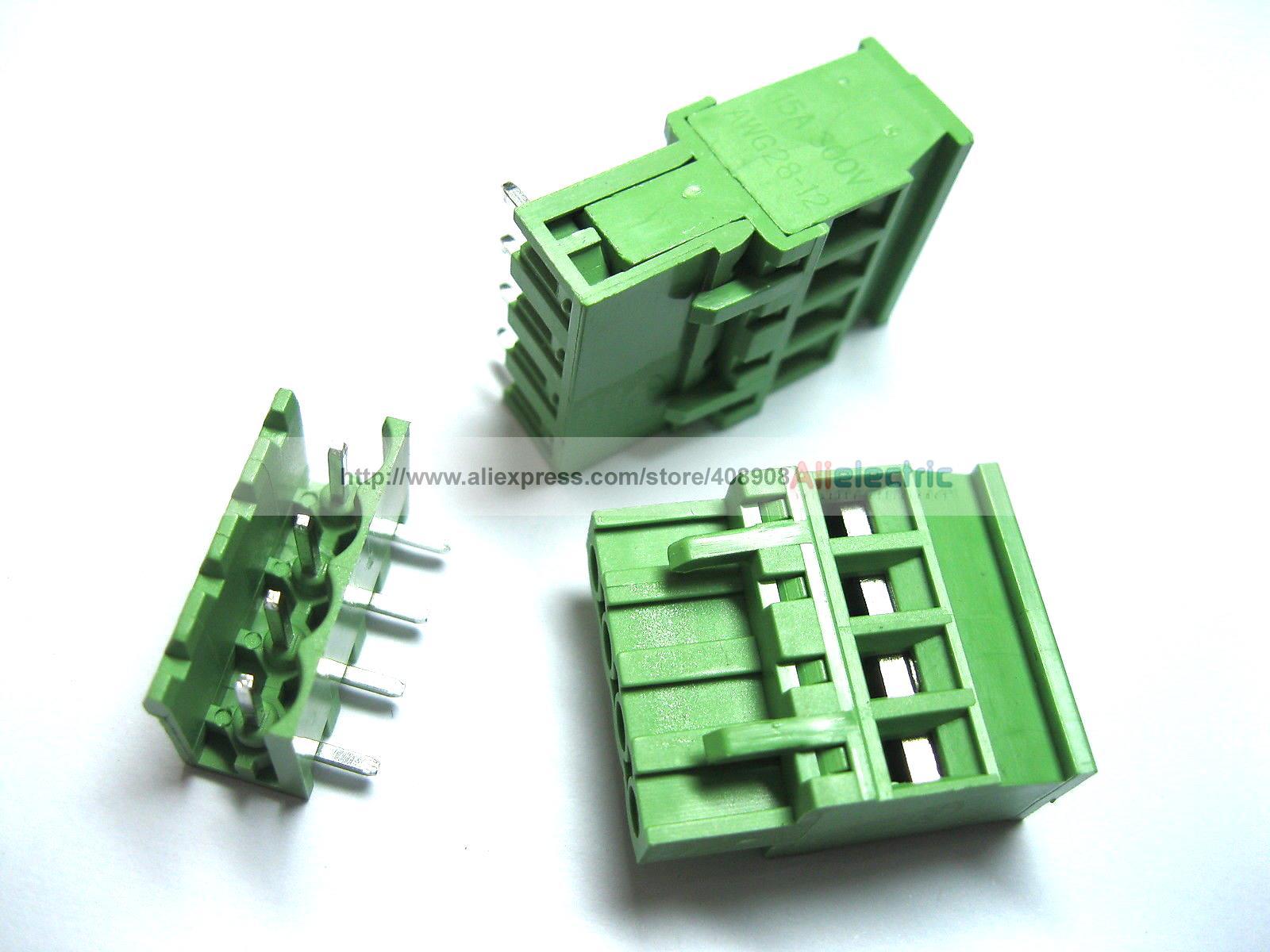 40 Pcs 5.08A 5.08mm Angle 4 Pin Screw Terminal Block Connector Pluggable Type 50 pcs 5 08mm angle 6 pin screw terminal block connector pluggable type green