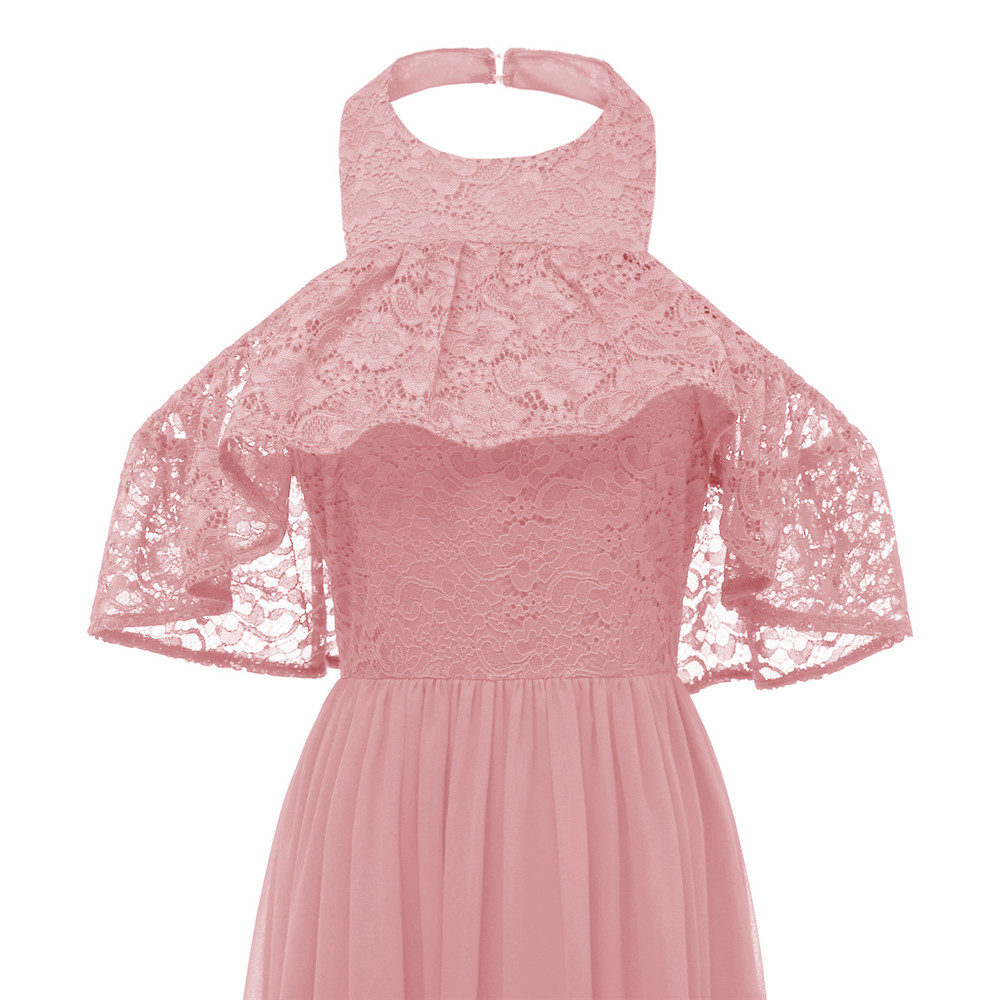 Sexy Women Evening Party Retro Gothic Hollow Out Floral Lace Dress Bow Ribbon Belt Spring Summer Work Hanging neck Dresses in Dresses from Women 39 s Clothing