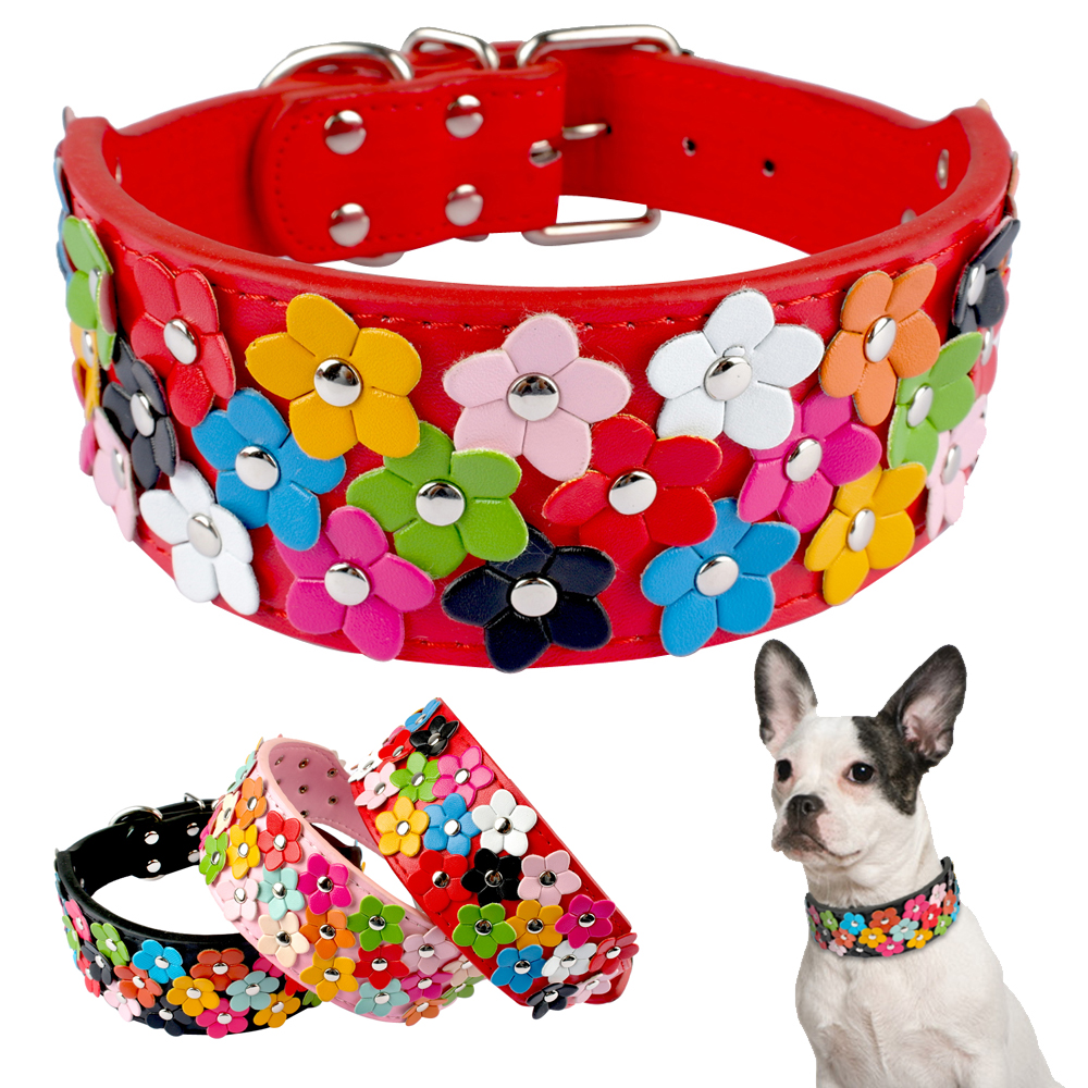 2 Inch Wide Flower Studded Leather Dog Collar Pink Pet Collars Necklace For Medium And Large Dogs M L XL Black Red