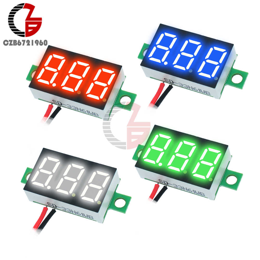 12V Car Voltmeter 0.36 inch LED Digital Voltmeter Voltage Meter Adjustable Volt Detector Tester Monitor DC 4.7-32V 2 Lead Wire