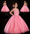 Super 2017 Girl Ball Gown Halter off the Shoulder Pink Beads Pageant Floor Length Flower Girls Dresses For Children Prom Gown