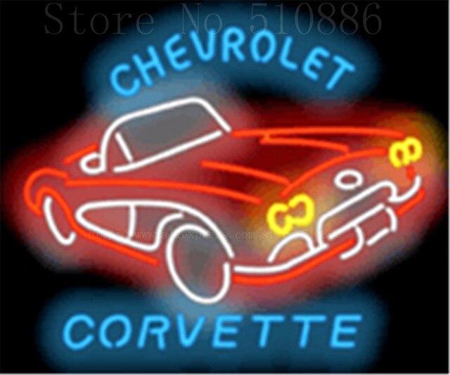 """Chevrolet Corvette 1950er jahren Glasrohr Auto leuchtreklame Businese Handcrafted Automotive Shop Zeichen Schild Signage 19 """"x 15"""""""