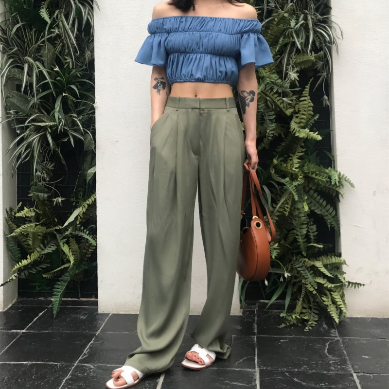 2019 Spring Summer Women Satin   Wide     Leg     Pants   Army Green High Street Loose Straight   Pants   Full Length
