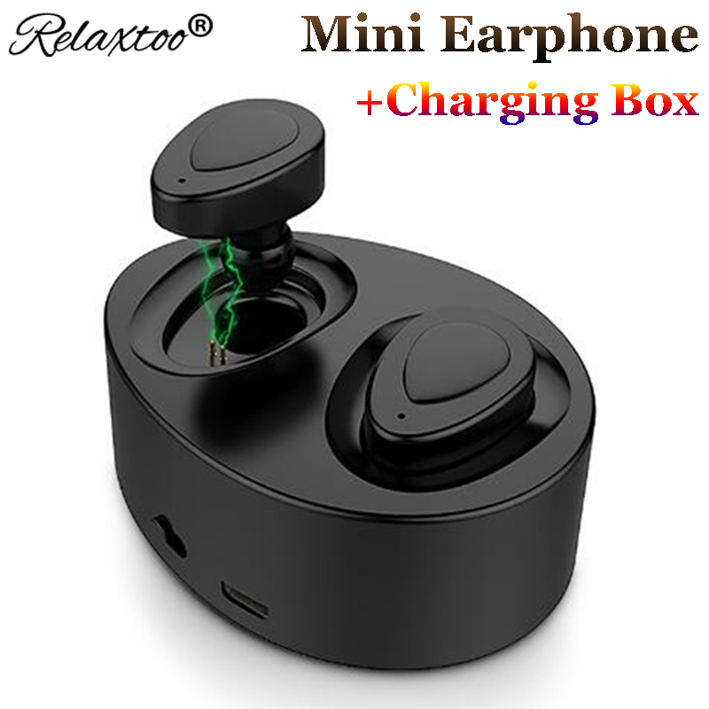 TWS mini bluetooth earphone with mic + charging box Double Ear Bass wireless Stereo headset music Earbuds sport headphone