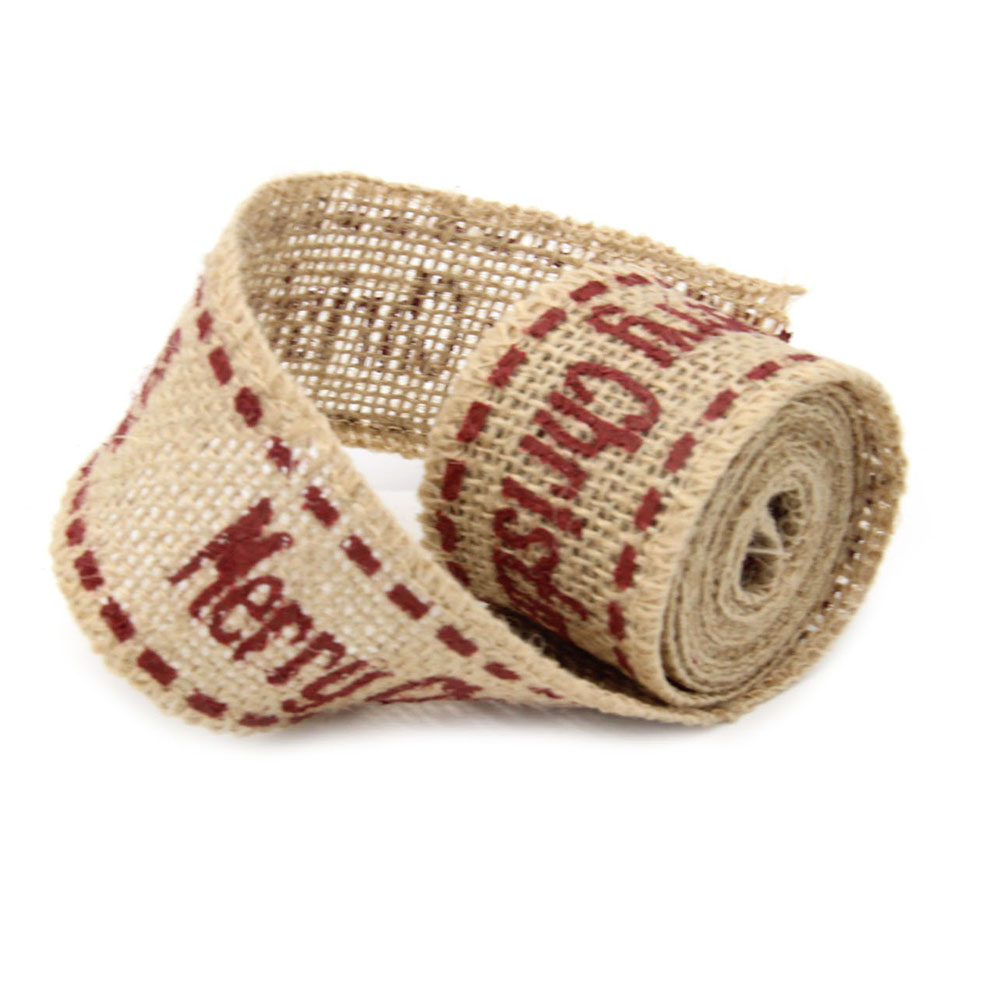 2m 4cm merry christmas burlap craft ribbon for diy crafts home wedding christmas decoration - Burlap Christmas Ribbon