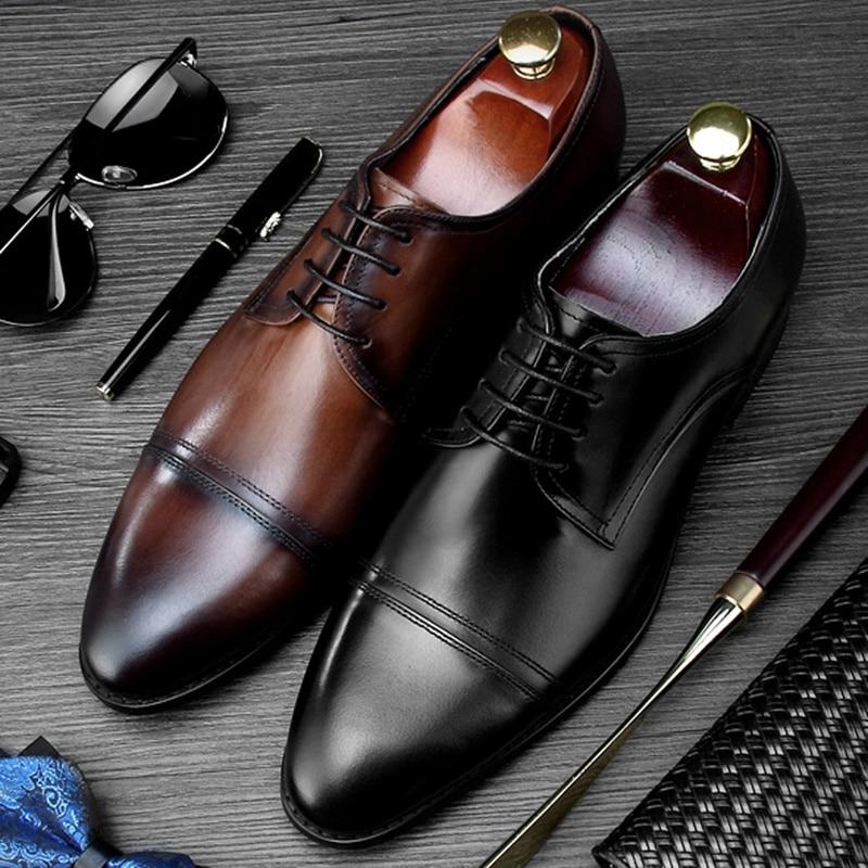 New Classic Round Toe Derby Man Formal Dress Shoes Genuine Leather Handmade Designer Oxfords Men's Wedding Party Footwear NE95 цена