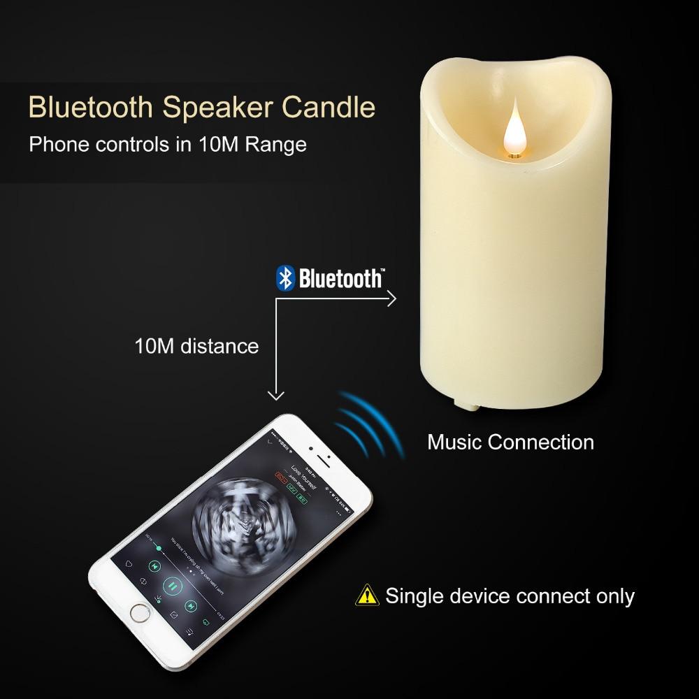 GiveU bougies LED sans flamme à piles Bluetooth haut-parleur bougie, 3D danse flamme bougie lampe, USB charge haut-parleur câble