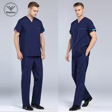 Новая летняя одежда для доктора с v-образным вырезом униформа для медсестер медицинский салон красоты скраб набор с коротким рукавом Мужская хирургическая медицинская форма