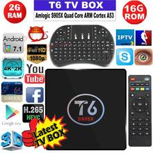 Original T6 tv box Android 7.1 smart TV Box 2G 16G Amlogic S905X Quad core 4 K 3D 2.4 GHz WiFi Media player Set Top Box PK X96